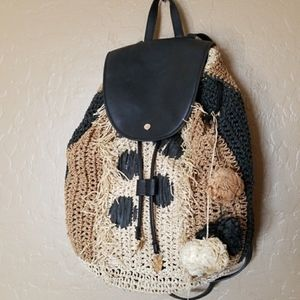 Gorgeous Tommy Bahama Leather and Straw Backpack